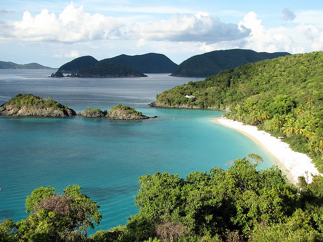 The Virgin Islands National Park is a United States National Park, covering approximately 60% of the island of Saint John in the United States Virgin Islands, plus nearly all of Hassel Island, just off the Charlotte Amalie, Saint Thomas harbor. The park is famous for scuba diving and snorkeling and has miles of hiking trails through the tropical rainforest. Ferries from Red Hook and Charlotte Amalie on Saint Thomas make regular stops at Cruz Bay, Saint John, near the park, which averages about 500,000 visitors per year
