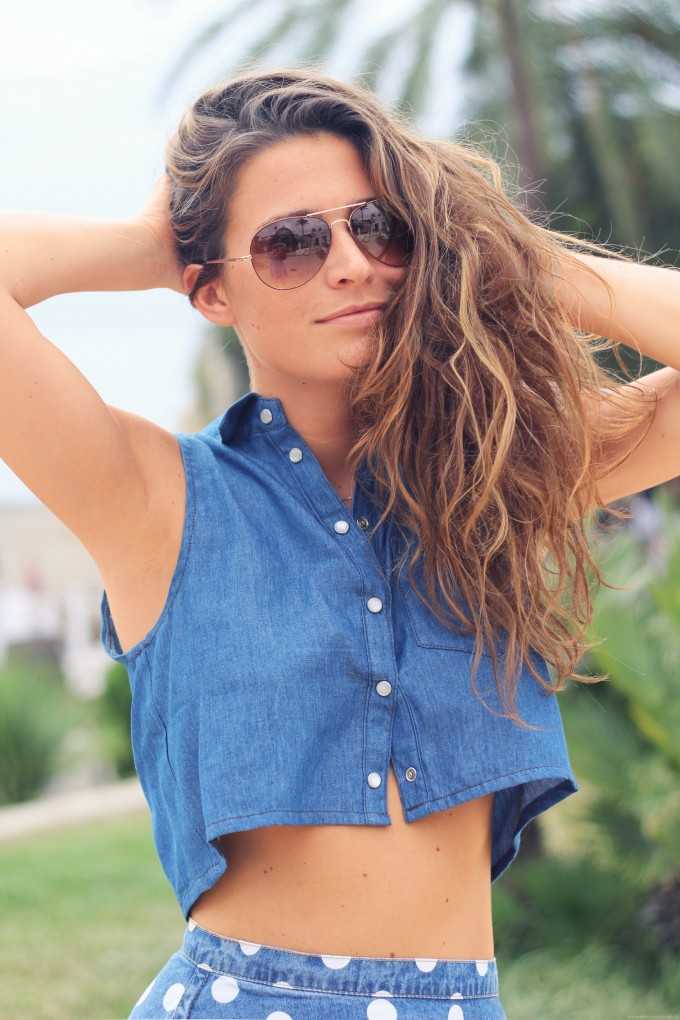 Denim Crop Top. Style up your looks with the ice coo blue denim crop top