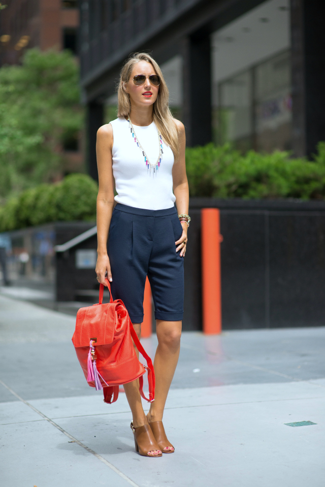If you want to look comfortable yet dressy enough for, say, a brunch, stick to a tailored pair of long shorts and a clean polished top. Then let your accessories do the talking.