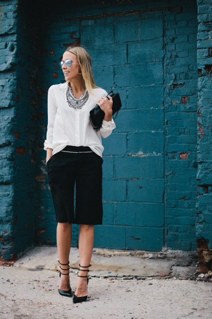 And if you're not up with the matching suit, you could just pair a plain black Bermuda shorts with a crisp white shirt and dazzle it with feminine elegance by slipping a gorgeous statement necklace.