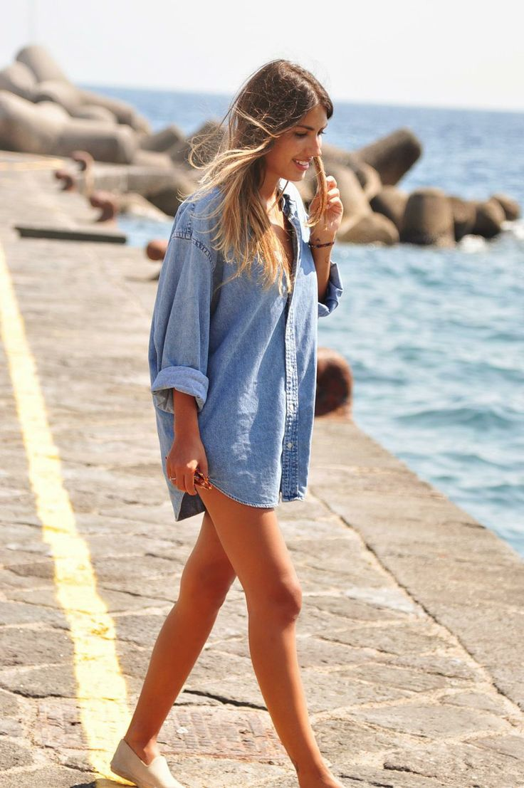 denim shirts are great as beach cover ups if you don't plan on taking a dip at all. You can wear it while you walk by the shore or enjoy a drink with a friend under the sun .