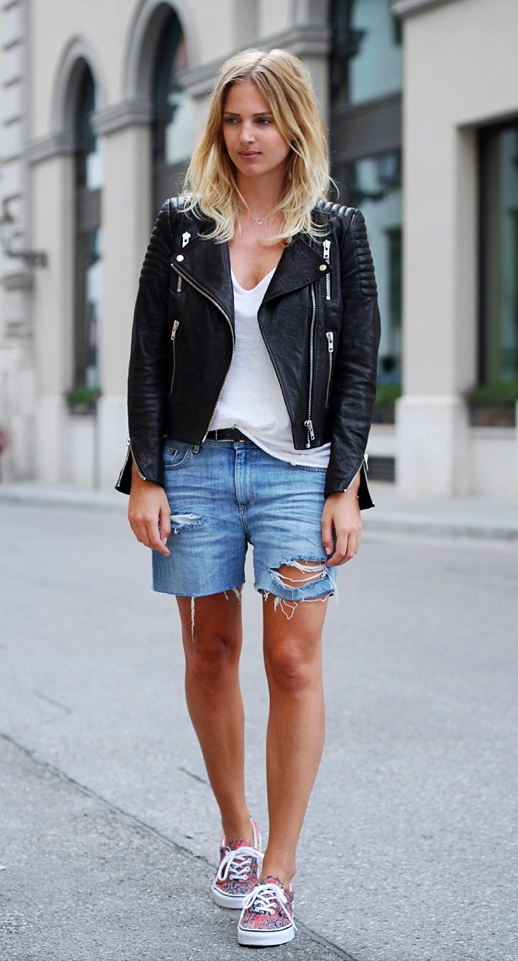 Achieve a grunge/raggedy look by pulling on an attire with ripped denim Bermuda shorts and leather jacket. But don't get too carried away so add up a pair of fun printed sneakers and just plain shirt underneath.