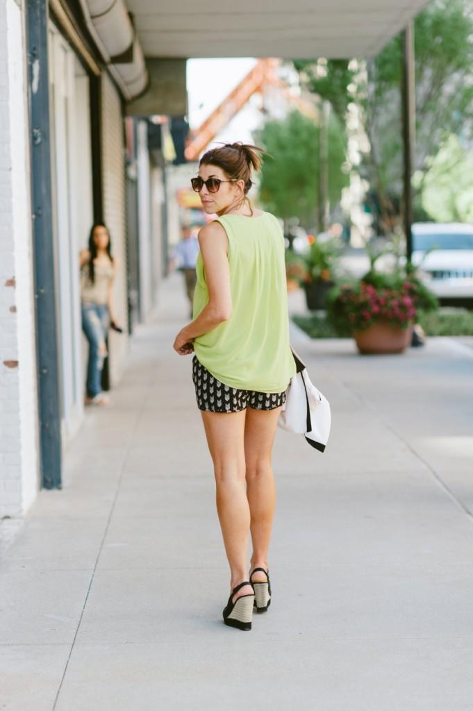 Black polka printed shorts at discount price