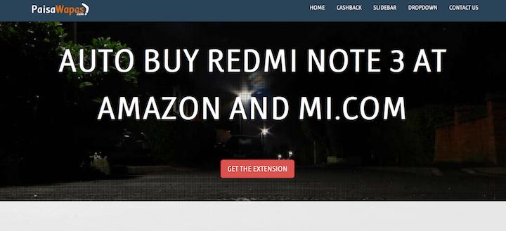 auto buy redmi note 3 at amazon and mi.com-extension