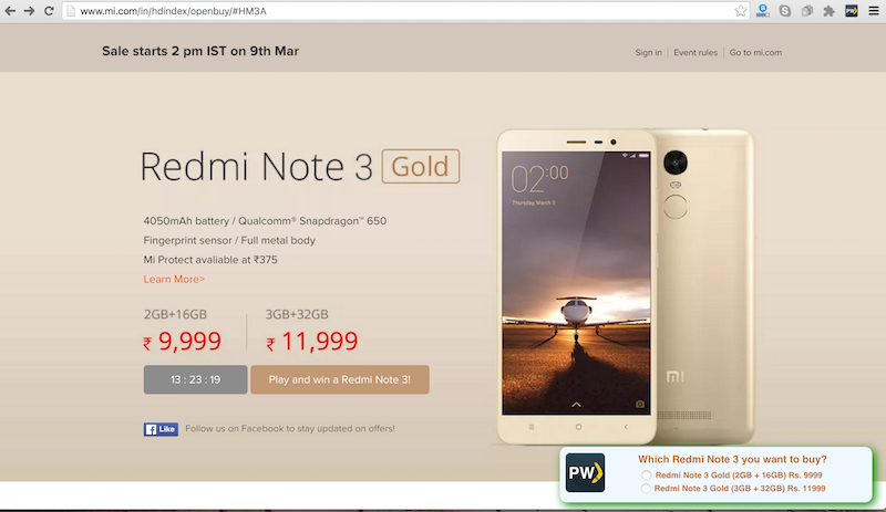 Tricks to auto buy Redmi Note 3 (32GB) in 1 second from Amazon & mi.com