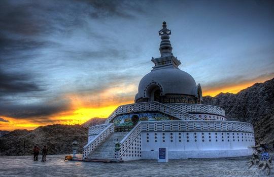 White stupas, Ladakh