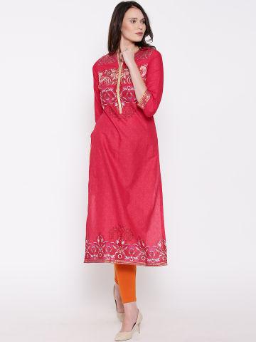 biba-women-red-printed-straight-kurta