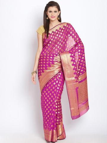 jashn-magenta-golden-patterned-cotton-banarasi-saree