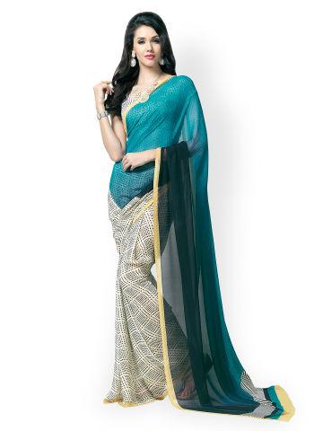 vaamsi-blue-cream-coloured-georgette-printed-saree