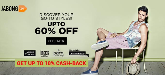 Upto 60% Off on Men's Casual clothing From Jabong
