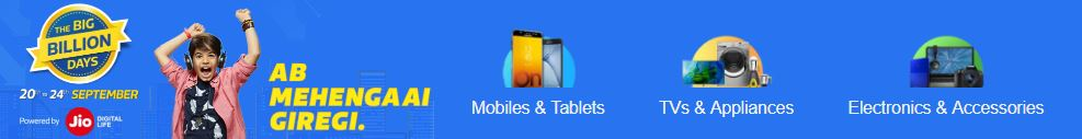 Flipkart Big Billion Day Sale on Mobile
