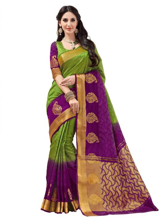 Taanshi Self Design Kanjivaram Tussar Silk Sari