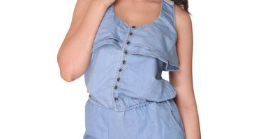 Bedazzle Blue Denim Short Length Jumpsuit