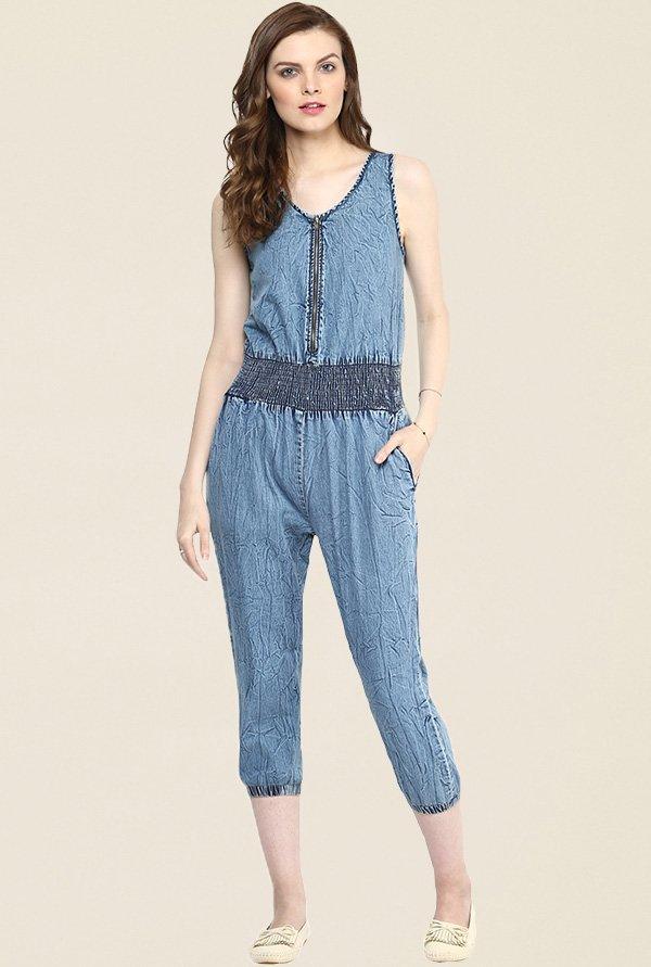StyleStone Blue Textured Jumpsuit