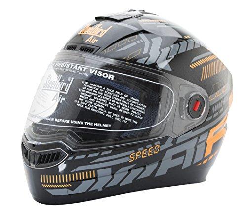 Steelbird SBA-1 Speed Glossy Black & Orange Full Face Helmet