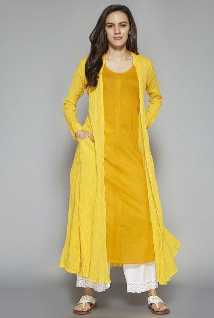 Utsa by Westside Yellow Pure Cotton Kurta Set