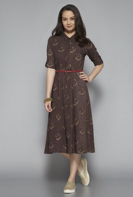 Bombay Paisley by Westside Brown Dress with Belt price