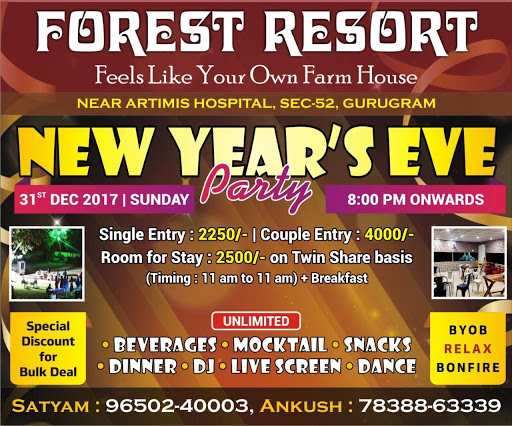 New Year Party at Forest Resort Delhi